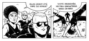 Kolmatta vuotta hibernoiva blogi (jonka toivon onnistuvani nostattamaan kuolleista ensi vuonna) löytyy ninni.sarjakuvablogit.com -osoitteesta. (Sähköjänis- ja Kas kissa -alppareita löytyy ainakin kirjastosta). Ohessa suosikkidialoginpätkäni viime kuussa vihdoin ja viimein valmistuneesta Kersantti Napalm -stoorista (käsis: Vesa Vitikainen).