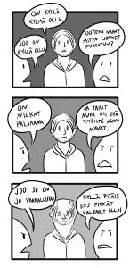 Olen -92 syntynyt sarjakuvataiteilija joka aikoo tulevaisuudessa suuntautua pelialalle tehden samalla sarjakuvia aina kun aikaa riittää. Yritän sarjakuvillani tuoda iloa lukijoille kertomalla omasta elämästäni, mutta selitän välillä milloin mistäkin mikä minua itseäni kiinnostaa. Tällä hetkellä olen aktiivisin omassa blogissani kokovartalosukka.sarjakuvablogit.com ja instagramissani nimimerkillä @poedoe92