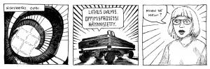 Tämä ei ole strippi, vaan albumista valitut kolme ruutua. Sarjakuva-albumi Välttelyn tekniikka on julkaistu tänä syksynä ja julkaisijana oli Oodi. Teimme sen omilla nimillämme Matti Westerlund (tarina ja kuvitus) ja Vilja Rydman (tarina, dramatisointi, teksti). Olen kuvittaja ja töitäni löytyy portfoliostanihttps://westerlundmatti.wixsite.com/portfolio ja jonkun verran sarjakuvia Instagramista nimellä mattiwest Välttelyn tekniikka -sarjakuvaa saa Rosebud-kirjakaupasta Kolmelta sepältä, tai Oodista.