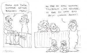 Saan ideat sarjakuviini ympärilläni tapahtuvista asioista. Piirrän usein työasioihin liittyvät asiat suomeksi ja perhe-elämään liittyvät asiat ruotsiksi, joka on äidinkieleni. Liitteenä kaksi perhe-elämään liittyvää tuotosta. Piirtäminen on minulle rakas harrastus vaikka olen joskus aikoinaan saanut siitä jotain pientä taskuuni kun piirsin m.m. Studentbladet:iin ja Aktia-pankin henkilöstölehteen. Viime vuosina olen julkaissut tuotoksiani Twitterissä (https://twitter.com/kenda_x/media), mutta upotan twiitit kotisivuilleni (http://www.kencomix.net) josta löytyy myös kaikki vanhat kuvat.