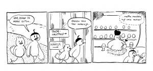 Kaarina Uimonen on helsinkiläinen sarjakuvapiirtäjä, animaattori ja kuvittaja. Hänen sarjakuviaan on julkaistu mm. Ilta-Sanomissa, Voima-lehdessä ja useissa antologioissa sekä omakustannesarjakuvissa ja hänen opinnäytetyöanimaationsa Green on näytetty TAFF-animaatiofestivaaleilla ja Lahden elokuvasäätiön lastenelokuvafestivaaleilla. Töitäni löytyy näistä osoitteista: https://kaarinart.wordpress.com/ https://tapas.io/inkbottle http://kiemura.sarjakuvablogit.com/ https://www.instagram.com/kaarinart_/