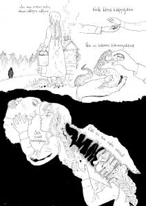 Sara Valta on turkulainen freelance-kuvittaja, sarjakuvantekijä ja graafikko, joka on käsikirjoittanut ja kuvittanut sarjakuvaa omaelämänkerrallisista aiheista aina kansanperinteeseen ja klassiseen fantasiaan. Tällä hetkellä hän työstää useita fantasialyhyttarinoita sekä tekee nettisarjakuvaa Alchemilla amerikkalaiselle Hiveworks kustantamolle. Otteena hänen töistään on kuvitus suomalaisesta kansanrunosta Jos Mun Tuttuni Tulisi. Sara Valtan löytää osoitteesta alchemillacomic.com @sarasadeart Instagrammissa ja Twitterissä